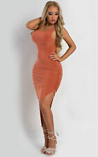Bodycon Fitted Tight Black Strappy Cross Over Back Side Split Party Glam Dress