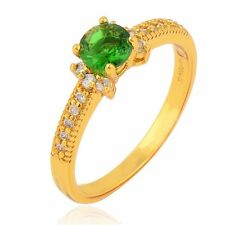 Fashion Jewelry 18K Yellow Gold Filled Topaz Sapphire Emerald Wedding Rings