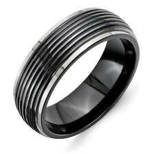 Chisel Titanium Black Ti Grooved Two-tone 8mm Band Ring TB391