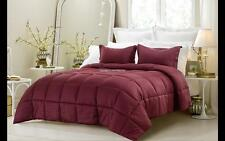 NEW Wine Comforter Set 3 Piece Reversible Solid/ Emboss Striped