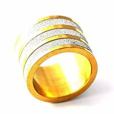 Personal Yellow Gold Filled+Silver Filled Sandy Mens Band Love Ring Size 8-12