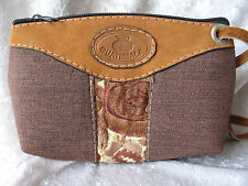 GUATEMALA GENUINE BROWN SUEDE LEATHER & LINEN & EMBROIDERY FABRIC PURSE