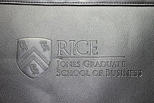 RICE JONES GRADUATE SCHOOL OF BUSINESS BLACK FOLIO PAD PLANNER ORANIZER VEGAN