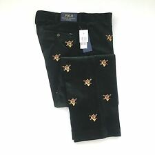 NWT $145 Polo Ralph Lauren Men's Green Fox Embroidered Corduroy Pants 32 34 AUTH