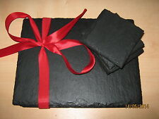 8 Piece 'Natural' Welsh Slate Placemats & Coasters Table Mats Dinner Drinks Set