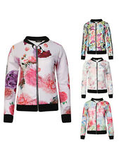 Long Sleeved Zip Front Floral Tropical Mono Bomber Summer Jacket