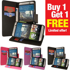 BUY 1 GET 1 FREE! PU Leather Card Holder Wallet Flip Case TPU Cover HTC One M9