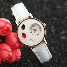 Girl's Refined Ellipse Love Heart Faux Leather Band Quartz Student Wrist Watch