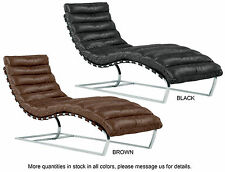 Leather Chaise Lounge Chair Mid Century Modern Lounger Industrial Rustic
