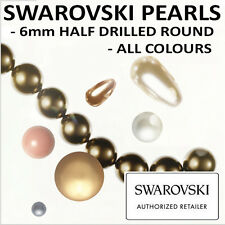 Swarovski Pearls | 6mm Half Drilled | 5818 | All Colours | Small & Wholesale