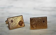 Vintage Westinghouse 12K Gold Fill Ruby Chip 40 Yrs Service Cuff Links