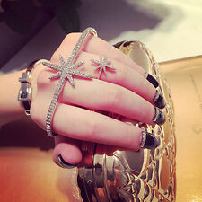 Fashion Chic Crystal Charms Silver Hand Palm Bracelet Bangle Cuff Ring Gift