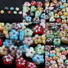 Wholesale Mix-color Loose Spacer Beads Murano Lampwork Glass Flower Heart Square