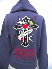 ED HARDY  CRISTIAN AUDIGIER JUNIORS PLATINUM purple CROSS  HOODIE NWT