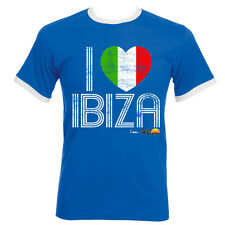 I Love Ibiza Mens T-shirt Italy Flag Vintage Top Blue White Navy Contrast Ringer