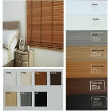 """FAUX WOOD - PVC Venetian Blinds - 50mm 2"""" slat with LADDER TAPES - 7 colours"""
