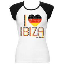 I Love Ibiza Womens T-shirt Germany Flag Vintage Top Black White Contrast Ringer