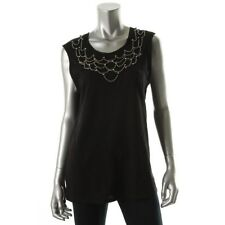 Juicy Couture Black Cotton Embellished Sleeveless Blouse Top  Large - NEW