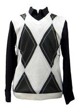 New Mens Prestige Light Weight White Sweater Vest Argyle Design  ARC-402  M- 3XL