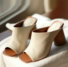 Women Leather Open Toe Mules Sandals Black White Brown Slip-On Shoes
