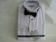 New Daniel Ellissa Boys White Tuxedo Dress Shirt with Black Bow Tie
