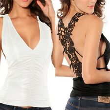 New Sexy Women's Crochet Lace Back Tank Top T-shirt Vest Cami Hollow-out S2U