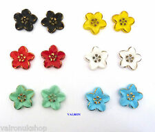 LARGE PETAL FLOWER EARRINGS CHOICE OF COLOURS MAGNETIC, CLIP ON OR STUD
