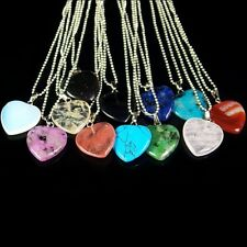wholesale assorted natural gemstone loose beads heart pendant stone necklace DIY