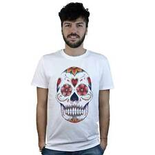 T-shirt Mexican Skull with flowers, T-shirt white style Tattoo Rock