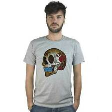 T-shirt Mexican Skull with Roses, T-shirt grey style Tattoo Rock
