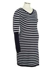 NEW! Gap Maternity Rib-sleeve cotton knit dress Gray/Navy Stripe Size S or M