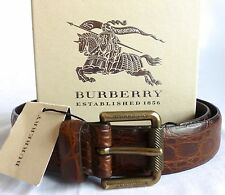 NWT $850 Burberry Men's Genuine Crocodile Croc Alligator Skin Leather Belt AUTH