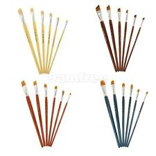 Set of 6 Pcs Nylon Hair Paint Brush Assorted Tip Wooden Handle for Watercolor