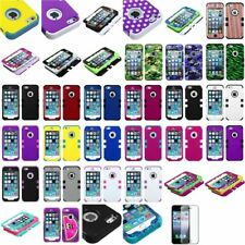 TUFF Hybrid Case Skin Phone Hard Rubber Cover+Screen Protector For iPhone 5 5S