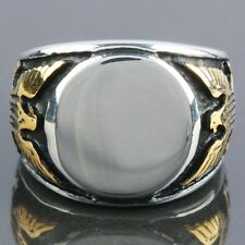 Fashion Men's Heavy Stainless Steel Carved Golden Eagle Hawk Finger Ring Jewelr