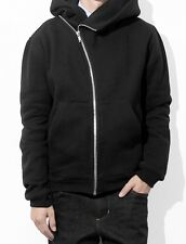 Men Asymmetric Zip Front Panelled Cotton Zip Hoodie Jacket with Pointed Hooded