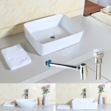 UK STOCK Countertop+Pop up Waste+Chrome Bottle Trap Bathroom Basin Sink New