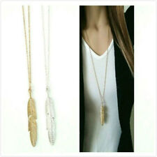 Sexy Women Feather Pendant Long Chain Necklace Sweater Statement Vintage Jewelry