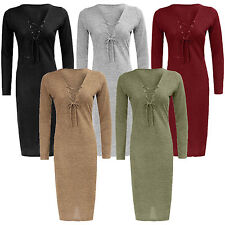 New Women Ladies Long Sleeve front Eyelet Lace Tie up V neck bodycon midi dress