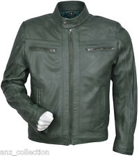 Cage Men's Green WAX Short Bomber Biker Motorcycle Style Premium Leather Jacket