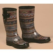 M&F BLAZIN ROXX LADIES BLACK/PURPLE/RED/BLUE AZTEC ROUND TOE RAIN BOOTS 58140