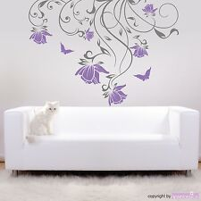 Wall Tattoo Tendril Mareike with Flowers And Butterflies (2-farbig) Wall Sticker