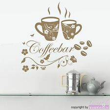 Wall Tattoo Coffeebar Lettering with 2 Coffee Mug Beans Kitchen Wall Stickers