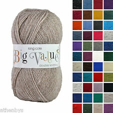 King Cole Big Value DK 100g Acrylic Knitting Yarn. Over 40 shades in stock