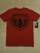 Affliction USA Dirty Red Top Hat Mens  L, M, Distressed T-Shirt