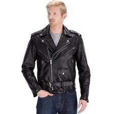 Mens Brando Leather Jacket Motorcycle biker