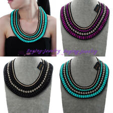 Fashion Beauty Shiny Resin Beads Choker Pendant Statement Cluster Bib Necklace