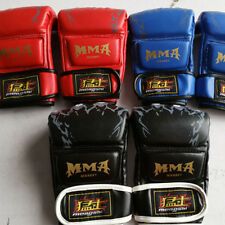 UFC MMA Boxing Gloves Grappling Training Punching Sparring Easy Fast Leather New