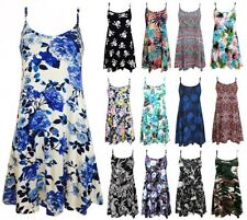 Ladies Cami Swing Printed Mini Dress Womens Strappy Flare Vest Top Plus Size8-22