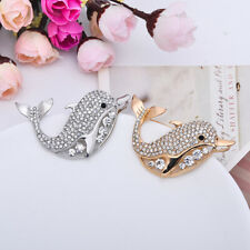Animal Clear Crystals Rhinestone Dolphin Pin Brooch for Wedding Kids Silver/Gold